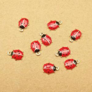 Enamel ladybird Charm x 2, Enamel and gold ladybird charm, 11mm dainty charms