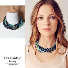 Collier Femme Multi Chaine Perle de Pierre Agate Bleue Jade  Super Joli ST
