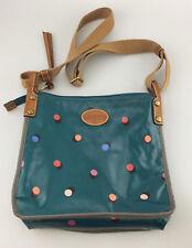 Fossil Waxed Canvas Crossbody Bag Purse Blue Polka Dot Designer Shoulderbag