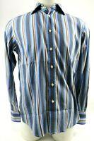 Robert Graham Men's Dress Shirt Size M Cotton Wave Stripes Blue Brown Flip Cuff