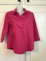 Coldwater Creek EUC Women's Hot Pink No Iron Dress Shirt 4-6