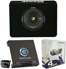 Kicker 40TCWS104 10-Inch 600W /Truck Subwoofer + Box + 1500W Mono Amp + Amp Kit