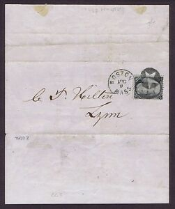 SC# 73 ON FOLD BANK NOTICE, NEG 5 PT STAR FANCY CANCEL, BOSTON PMK,1863, PF CERT