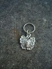 Silver Stylized Butterfly Key Ring Approx. 1 Inch