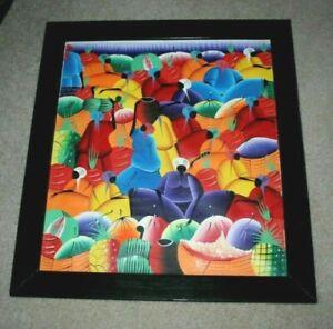 Abstract Haitian Fruit Market Oil Painting SIGNED KIKA? KIKO? 25 x 28  Modernism