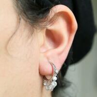925 Sterling Silver Hoop Earrings Multi-Round White Cubic Zirconia Stones