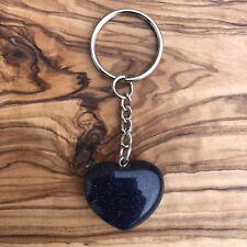 Blue Goldstone Heart Crystal Keyring 25mm Luck Creativity Gemstone Communication