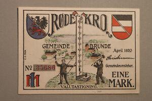 Notgeld Notgeldschein 1920 Rödekro Rode Kro Brunde Telegrafstation 1 Mark Litho