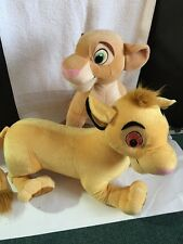 "Disney's The Lion King Simba And Nala Lot Set Plush LARGE 20"" Rare 2002"
