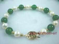 7-8mm,blanc,perle de culture & natural,vert,jade, bracelet ,19cm