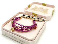 Juicy Couture Pink Metallic Multi Strand Charm Bracelet Goldtone New In Box! NWT