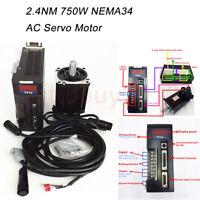 750W 2.4NM AC Servo Motor NEMA34 Servo Driver 90st-m02430 &3m Cable for CNC Mill