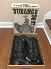 Mens Durango Handcrafted Black Leather Cowboy Western BOOTS Size 10 D