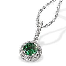 Goldmaid Kette 925 Sterlingsilber Farbstein Smaragd 28 klare Zirkonia 45 cm
