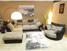 Dino Jumbo Black & Grey Corner Sofa with Matching Swivel Cuddle Chair Left Hand