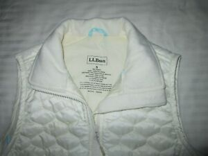Womens LL BEAN Ivory Off White Quilted Thinsulate Insulated Vest S Small MINT