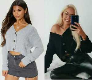 New Chunky Knit Cardigan Crop Top Short 3 Button for Girls and Women WHOLESALE