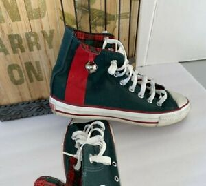 Converse All Star Christmas jingle bell high tops 7/m 9/w green red plaid  USA