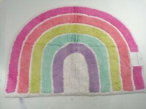 "Pottery Barn Kids Rainbow Shaped Bath Mat Rug Multicolor 28 x 20"" #9293"