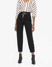 Bershka Womens Black Cargo Belted High Rise Trousers - Size: 12