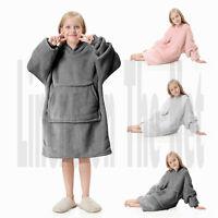 Kids Childrens Hoodie Blanket Oversized Plush Sherpa Reverse Hooded Sweatshirt