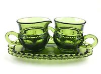 Vintage Olive King's Crown Thumprint Sugar And Creamer Set With Tray