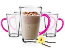 6 Latte Macchiato Gläser 300 ml mit rosa Henkel Tee Saft Kaffee Kaffeegläser