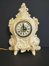 Vintage LANSHIRE Ceramic Mantle Clock, Works Perfectly cream and gold