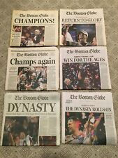 New England Patriots Boston Globe Super Bowl Wins (6) All Original Newspapers