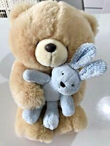 "Forever Friends 12"" Teddy Bear Holding Blue Bunny Rabbit Soft Toy By Hallmark"