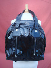 New Sloane & Alex Black Real Patent Leather Women Large Hobo Tote Handbag Bag