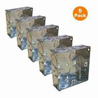 5 x Single Metal Back Box 25mm Flush Wall Pattress / 1 Gang Electrical Sockets
