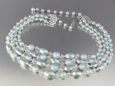 VINTAGE 50'S MULTI 4 STRAND GRAY FAUX PEARL & CRYSTAL GLASS BEAD NECKLACE JAPAN