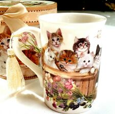 Ceramic Mug Cute Cat With Tassel And Box, Coffee Mug Cup Collectibles 12 Ounces