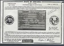 1948 Chevrolet Fleetline 2 Door Coupe Indiana Signed Car Title Document