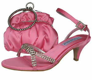 Ladies Wedding Party Low Heel Shoe Evening Sandal Diamante Candy Pink Satin NEW