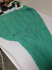 "Mermaid Tail Knit Blanket for Adult & Kids, 75""x35.5""Teal - No tags - New"