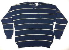 New Nautica Mens XL Sweater V Neck Long Sleeves Cotton Blue Beige Striped