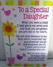 "HEARTWARMER KEEPSAKE MESSAGE CARD ""TO A SPECIAL DAUGHTER"" SWEET CHRISTMAS GIFT"