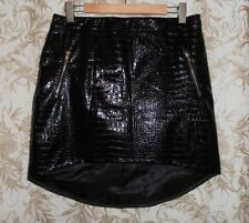 MOSSMAN NWT Sz 14 12 black faux leather look dip hem the gator Skirt RRP $119.85