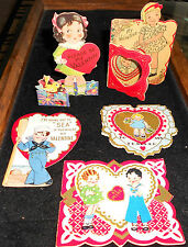 Lot of 5 Lovely Antique Valentines Greeting Cards from Early 1900's