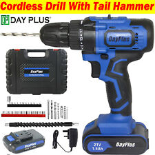 21Volt Drill 2 Speed Electric Cordless Drill / Driver with Bits Set & Battery