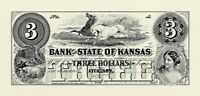 ABNC PROOF OR INTAGLIO PRINT OF $3 BANK OF STATE OF KANSAS ATCHISON KS FREE SHIP