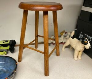 vintage wooden stool rustic 18in tall 10.5in across ideal as plant stand 4 legs
