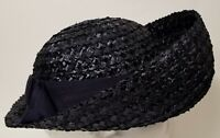 Vintage Gene Doris New York Navy Blue Large Front Brim Hat With Blue Ribbon Band