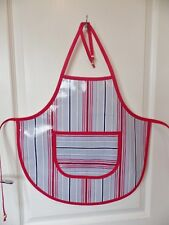 Hand Crafted KIDS DESIGN OILCLOTH CHILDRENS APRON : RED & BLUE STRIPE