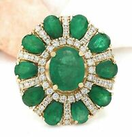 6.50 Carat Green Emerald and Diamond 18K Yellow Gold Over Engagement Ring Womens