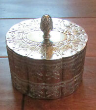Vintage Metal Etched Jewelry Trinket Velvet Lined Silver Tone Plate Heavy Box