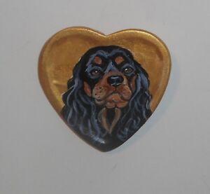 Cavalier King Charles Spaniel dog Hand Painted Ceramic Brooch Pin