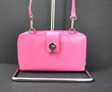 ili World Leather Smart Phone Wallet Crossbody Strap RFID Zip Slot Hot Pink W14